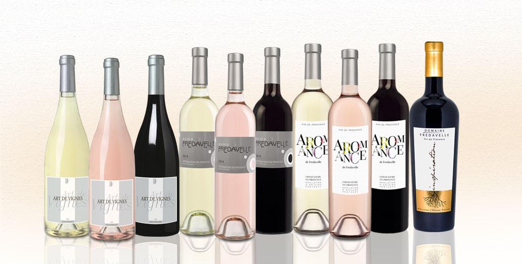 gamme vins fredavelle art de vignes domaine aromance inspiration photos bouteilles rose rouge blanc