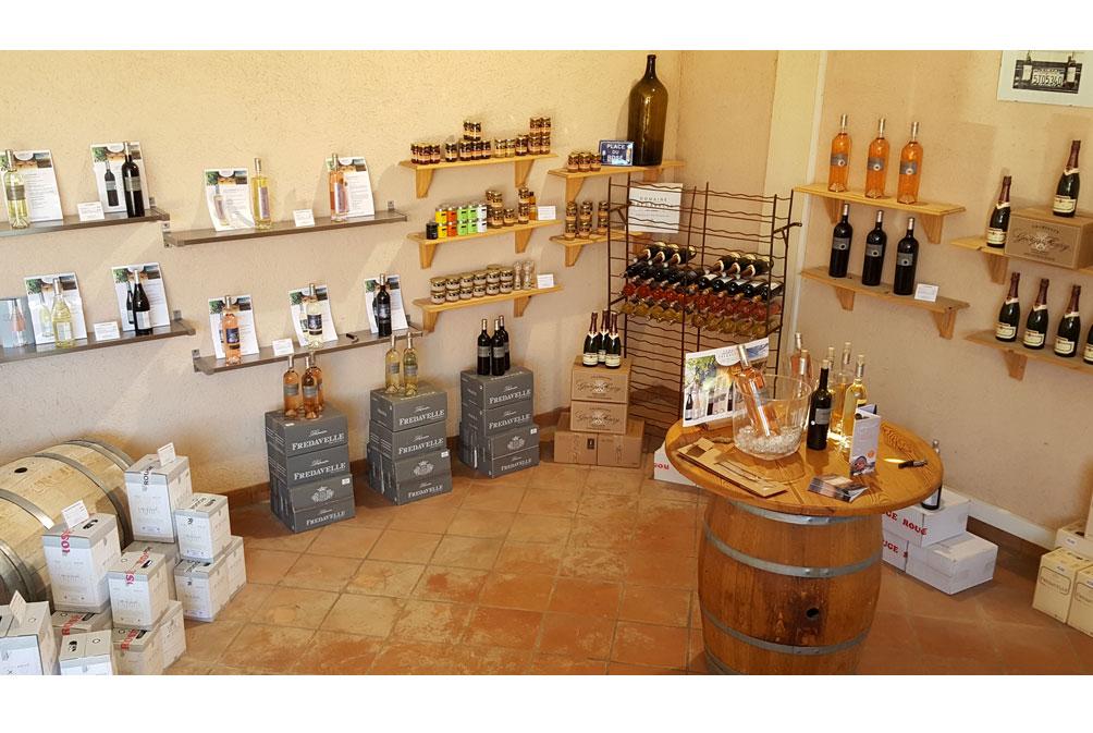 photo caveau de vente boutique wineshop eguilles achat produits vins domaine fredavelle