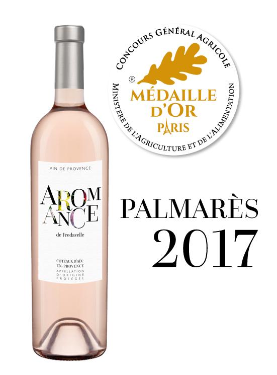médaille or concours general agricole paris palmarès vin aromance rose fredavelle eguilles provence aop coteaux aix