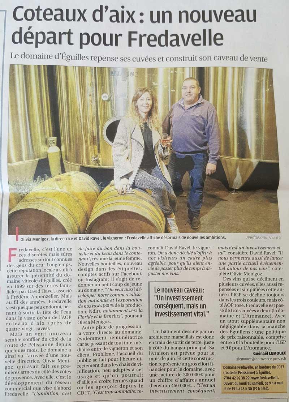 article presse region journal la provence nouveau depart fredavelle vignoble eguilles coteaux aix