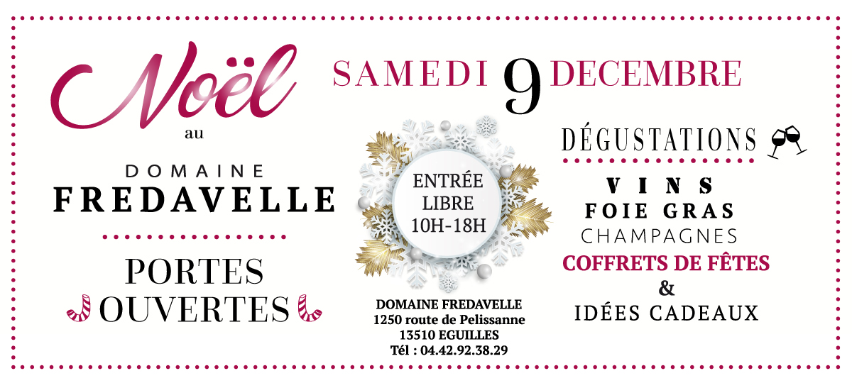 journée portes ouvertes de Noël au domaine fredavelle dégustation vins champagne foie gras coffrets cadeaux