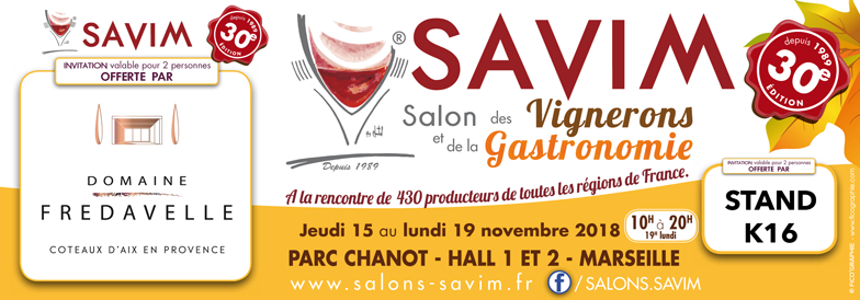 invitation SAVIM automne salon vins et gastronomie marseille parc chanot domaine fredavelle novembre 2018