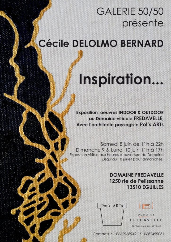 affiche exposition Inspiration galerie 50/50 Cecile DELOLMO BERNARD vernissage fredavelle